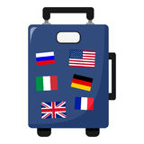 Suitcase Bag with Flags Flat Icon on White Royalty Free Stock Photo