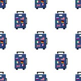 Suitcase Bag with Flags Seamless Pattern. A seamless pattern with a blue suitcase bag flat icon with colorful flags, isolated on white background. Useful also as Stock Photos