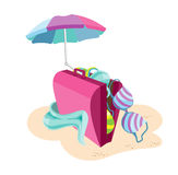 Suitcase_beach Royalty Free Stock Image