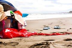 Suitcase on beach Stock Photo