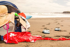 Suitcase on beach Royalty Free Stock Photography