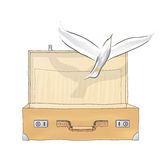 Suitcase and bird (vector) Royalty Free Stock Images