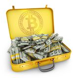 Suitcase bitcoin and dollars. A suitcase with a sign of bitcoin and a large pile of dollars. 3d rendering Royalty Free Stock Photo