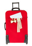 Suitcase with blank white envelop. Royalty Free Stock Images