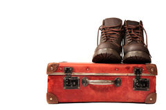Suitcase and boots stock photo