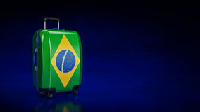 Suitcase with Brasil flag. Stock Photography