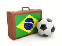 Suitcase with Brasil flag and soccer ball Stock Photography