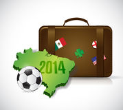 Suitcase brazil 2014 trip illustration design Royalty Free Stock Photos
