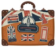 Suitcase with British symbols, monuments and flag Royalty Free Stock Image