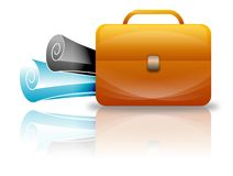 Suitcase, business icon. Suitcase with rolled papers, business icon Royalty Free Stock Photography
