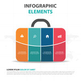 Suitcase business Infographics elements, presentation template flat design vector illustration for web design marketing Royalty Free Stock Photo