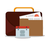Suitcase and business supplies design. Suitcase calendar and file icon. Business supplies management and workforce and theme. Colorful design. Vector Royalty Free Stock Photo