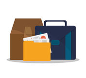 Suitcase and business supplies design. Suitcase file and box icon. Business supplies management and workforce and theme. Colorful design. Vector illustration Stock Photo