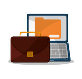 Suitcase and business supplies design. Suitcase laptop and file icon. Business supplies management and workforce and theme. Colorful design. Vector illustration Stock Image