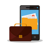 Suitcase and business supplies design. Suitcase smartphone and file icon. Business supplies management and workforce and theme. Colorful design. Vector Royalty Free Stock Images