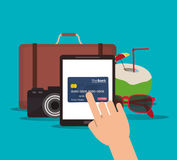 Suitcase camera tablet credit card cocktail glasses icon. Stock Photo