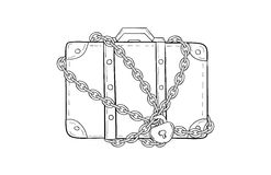 Suitcase with chain and lock Royalty Free Stock Images