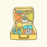Suitcase with clothes, flip flops, camera and Royalty Free Stock Images