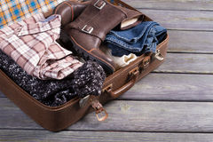Suitcase with clothes. Royalty Free Stock Photo