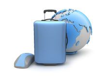 Suitcase, computer mouse and earth globe. On white background vector illustration