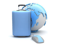 Suitcase, computer mouse and earth globe Royalty Free Stock Image