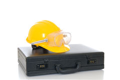 Suitcase construction helmet Royalty Free Stock Image