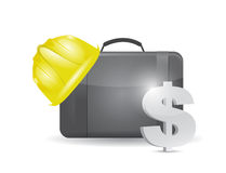 Suitcase and construction helmet and dollar. Stock Image