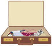 Suitcase and contents Royalty Free Stock Photos