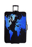 Suitcase with continents over white Royalty Free Stock Images