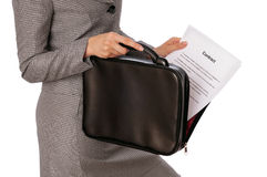 Suitcase with contracts Stock Photography