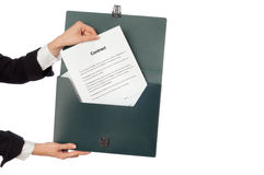 Suitcase with contracts Stock Image