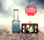 Suitcase in Desert Royalty Free Stock Images