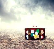 Suitcase in Desert Stock Image