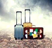 Suitcase in Desert Stock Photo
