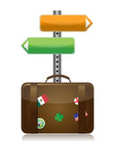 Suitcase with destination sign Stock Photography