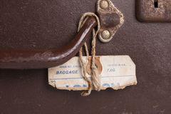 Suitcase Detail. A torn tag attached to a vintage suitcase Royalty Free Stock Image