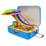 Suitcase with Different Accessories for Vacation Royalty Free Stock Photography