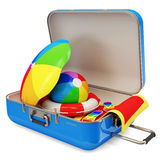 Suitcase with Different Accessories for Vacation Stock Photo