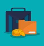 Suitcase and digital marketing design. Suitcase file and coins icon. digital marketing media and ecommerce theme. Colorful design. Vector illustration Stock Photos