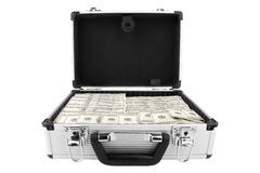 Suitcase of dollars. On a white background Royalty Free Stock Images