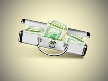 Suitcase with Dollars. Dollars in open metal suitcase isolated on grey yellow background Stock Photos