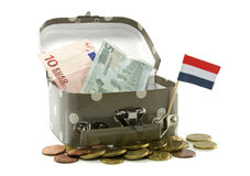 Suitcase with dutch flags and money Royalty Free Stock Image