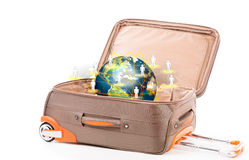 Suitcase and earth  on a white background Royalty Free Stock Image
