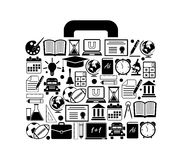 Suitcase with education icons Royalty Free Stock Images
