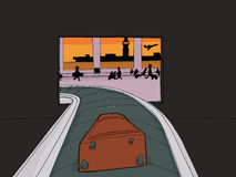 Suitcase Entering Crowded Airport. Point of view cartoon of single suitcase entering baggage claim Stock Image