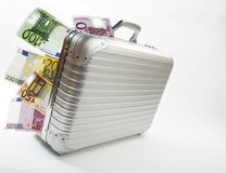 Suitcase with Euro bank notes Royalty Free Stock Image