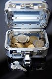 Suitcase with euro coins Royalty Free Stock Photography