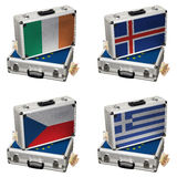Suitcase with Euro flags and money Royalty Free Stock Photography