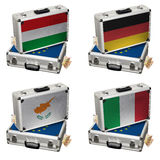 Suitcase with Euro flags and money Royalty Free Stock Photos