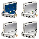 Suitcase with Euro money. Several metal suitcase with euro money Stock Photo